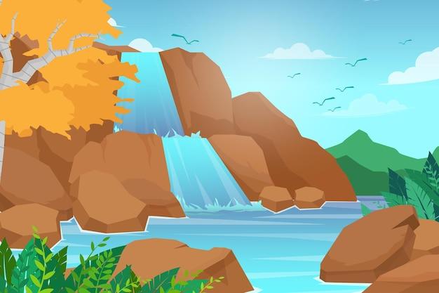 산맥에있는 폭포. 바위와 물. 연못과 호수. 하늘에 구름과 새, 자연 풍경. 만화 평면 그림 스타일