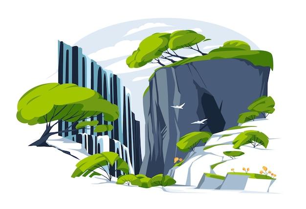 Водопад в скале. плоский пейзаж с речной водой, падающей с горных скал, пещеры. птицы в полете. дикие деревья и кусты