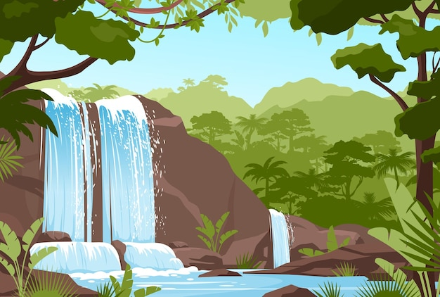 폭포 정글 풍경. 폭포 바위, 강 스트림이있는 열대 자연 경관