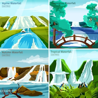 Waterfall landscapes 2x2 design concept