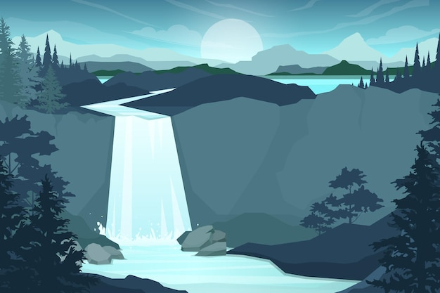 Waterfall in mountain range. rocks and water. pond and lake. nature landscape. cartoon flat illustration style