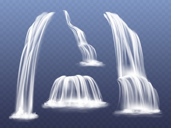Waterfall or water cascade illustration. Isolated realistic set of flowing streams falling