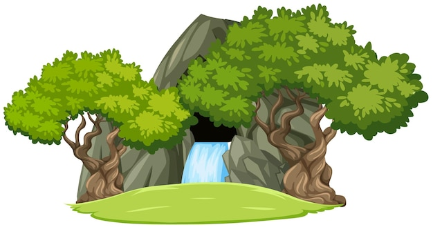 Waterfall stone cave with trees isolated on white