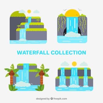Коллекция водопадов в мультяшном стиле