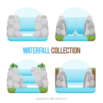Waterfalls collection in flat style