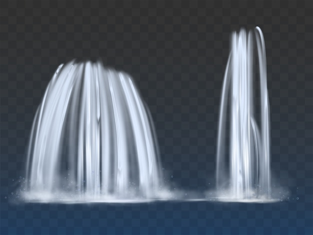 Waterfalls or fountains flow 3d realistic vector