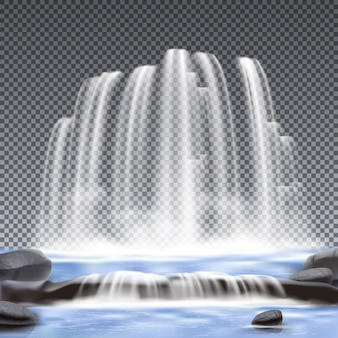 Waterfalls realistic transparent background