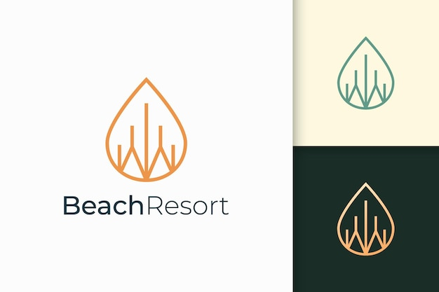 Waterfront apartment or property logo in simple line shape