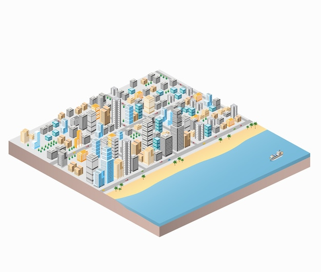 Waterfront city beach and palm trees isometric city map with lots of buildings, skyscraper