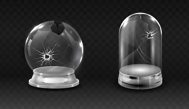 壊れたwaterglobe、ひびの入った空、ガラスの鐘の瓶のリアルなイラスト。