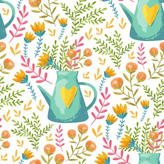 Watering can and flowers pattern