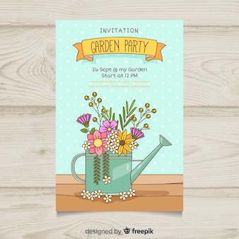Watering can full of flowers spring party poster template