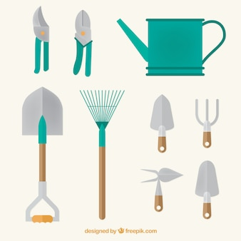 Watering can and garden tools in flat design