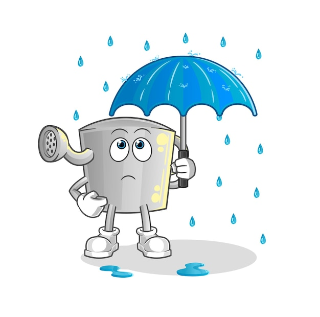 The watering can holding an umbrella . character