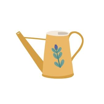 흰색 배경에 격리된 귀여운 꽃으로 장식된 물뿌리개나 냄비. 원예 및 식물 재배에 사용되는 간단한 원예 도구 또는 농기구. 플랫 만화 벡터 일러스트 레이 션.