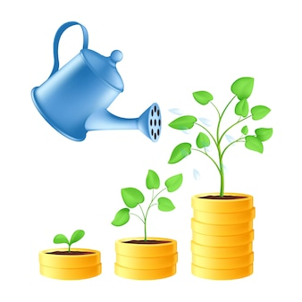 물을 깡통은 금화 더미에 물을 부을 수 있습니다. 녹색 식물 성장 단계를 통한 비즈니스 투자 및 절약 개념. 흰색 배경에 고립 된 금융 성장의 벡터 일러스트 레이 션