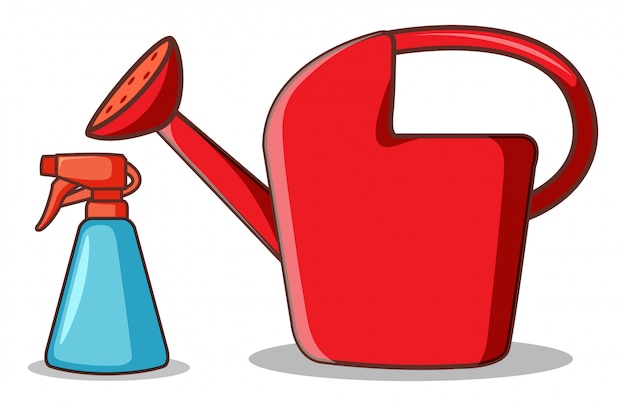 Watering can and spray bottle on white