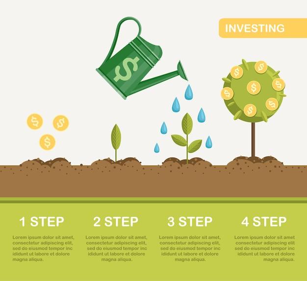 Лейка поливает денежное дерево. инвестиции, финансовый менеджмент. этап увеличения прибыли, богатства