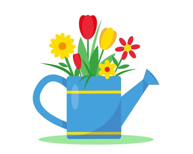 白い背景に花とじょうろ。春または夏のガーデニング。