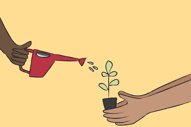 Полив растений каракули вектор концепции окружающей среды