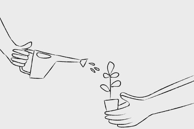水まき植物落書きベクトル環境の概念