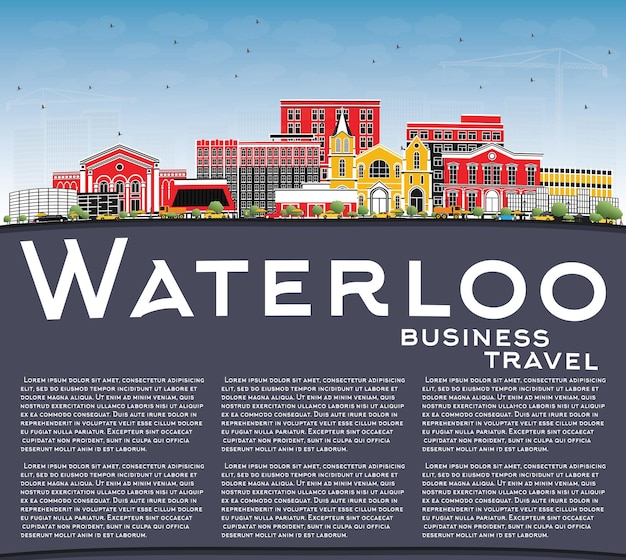 Waterloo iowa skyline with color buildings, blue sky and copy space. vector illustration. business travel and tourism illustration with historic architecture.