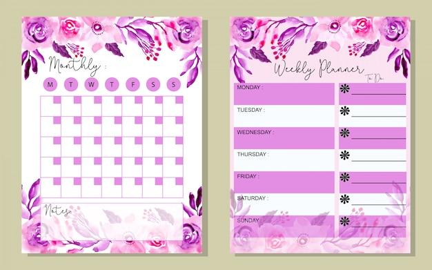 Установите ежемесячный и еженедельный планировщик фиолетовый waterlor цветок