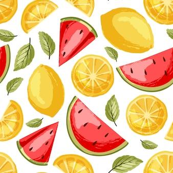 Арбуз и лимонный узор