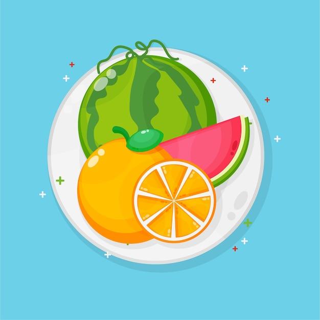 Арбуз и апельсины на тарелке