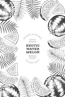 수박과 열대 잎 디자인 템플릿입니다. 손으로 그린된 벡터 이국적인 과일 그림입니다. 새겨진 스타일 과일 프레임입니다. 레트로 식물 배너입니다.