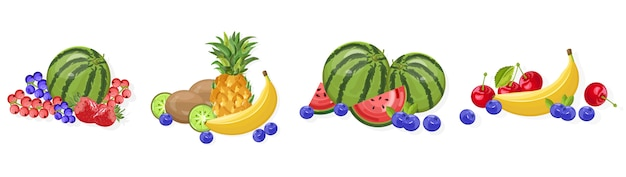 Watermelon, banana and berries collection