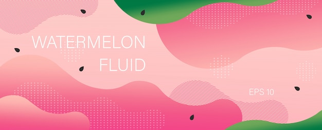 Watermelon banner in flat style waves and curls