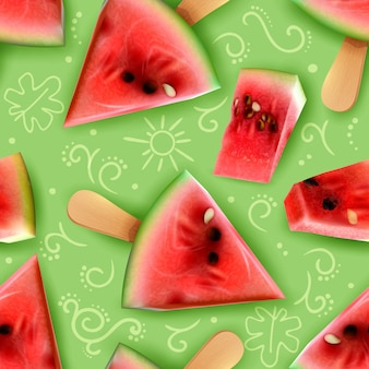 Watermelon bite size pieces on a stick summer snacks serving ideas realistic appetizing seamless patten vector illustration