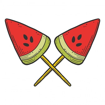Watermelon candy or icerceam. vector concept in doodle and sketch style.