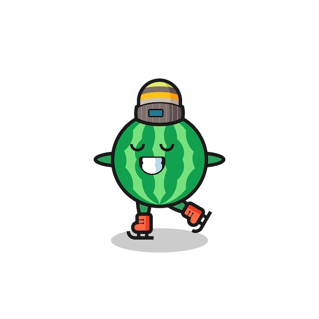 Watermelon cartoon as an ice skating player doing perform , cute style design for t shirt, sticker, logo element