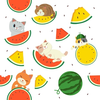 Watermelon and cat pattern