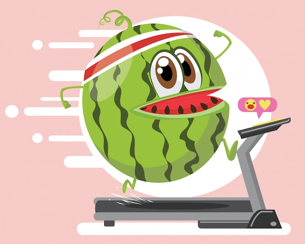 Watermelon character sport marathon training