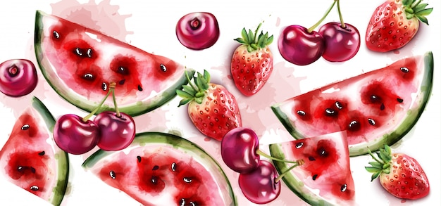 Watermelon and cherry watercolor