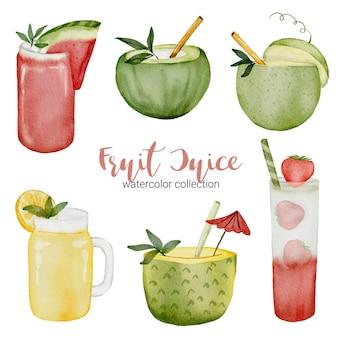 スイカ、ココナッツ、メロン、パイナップル、ガラスのイチゴ、水彩風のフルーツジュースのセット