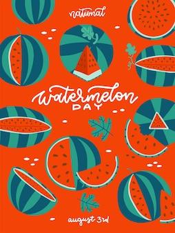 День арбуза вертикальный летний баннер красный плакат с зелеными арбузами и белыми буквами текста ве ...