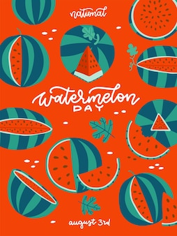 Watermelon day  vertical summer banner red poster with green watermelons and white lettering text ve...