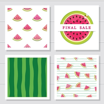 Watermelon design elements set