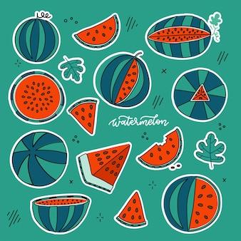 明るい色のスタイルで設定されたスイカ落書き手描きステッカーは、日当たりの良いフルーツコレクションを分離しました...