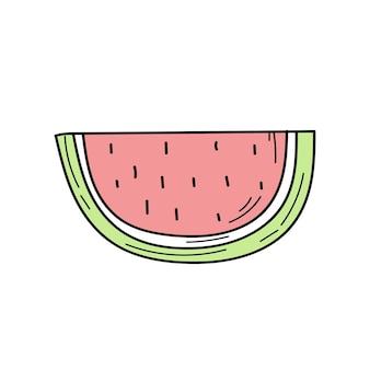 수박 낙서 아이콘입니다. 흰색에 간단한 손으로 그린 수박 아이콘입니다. 여름 이미지