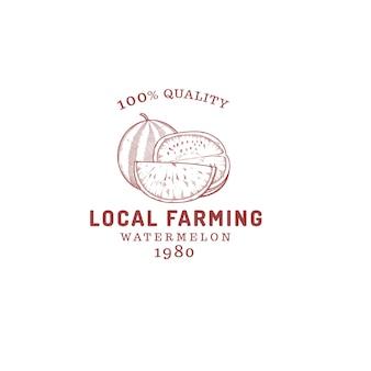 Арбуз ферма фрукты логотип, изолированные на белом