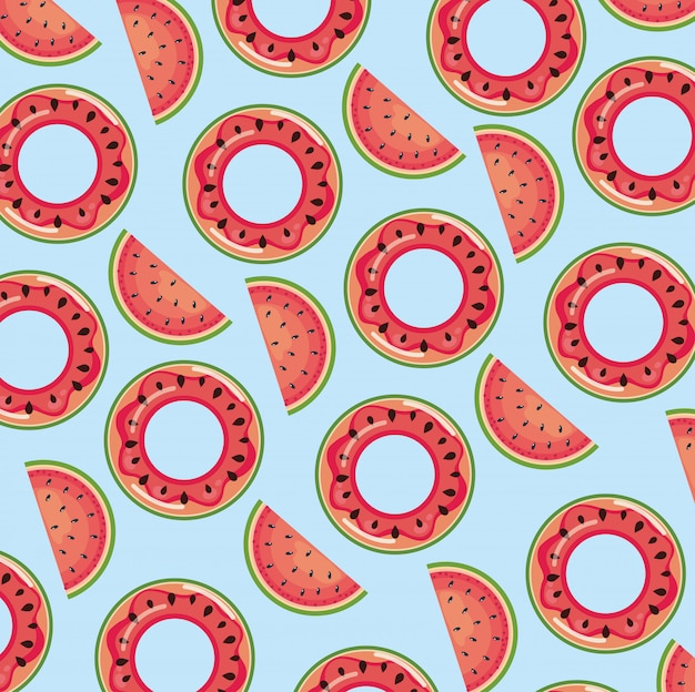 Watermelon float over blue seamless pattern wallpaper