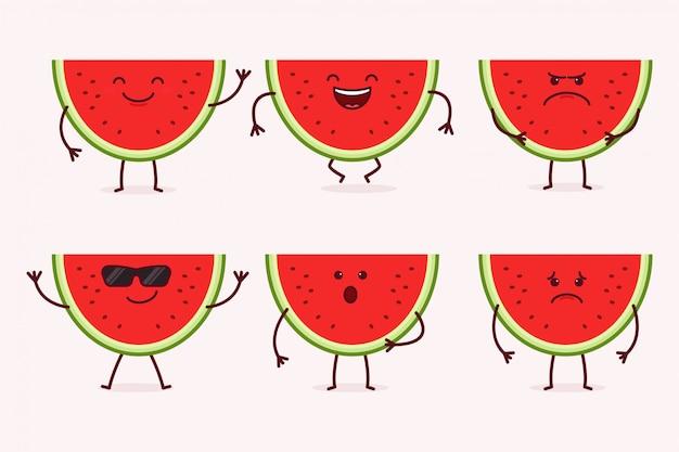 Watermelon fruit character set