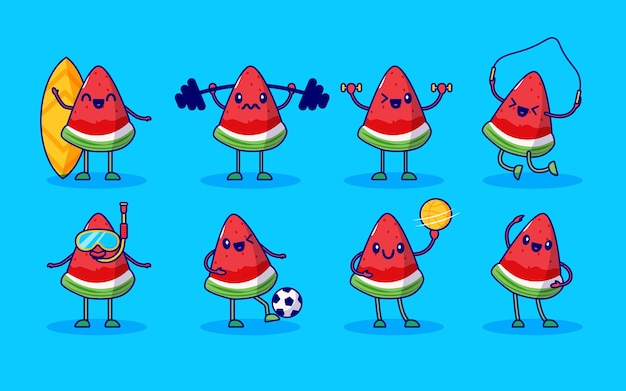Watermelon fruit cute character set