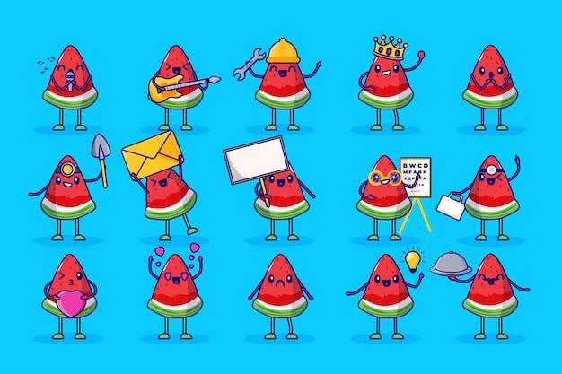 Арбуз фрукты милый набор символов