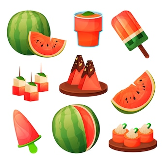 Watermelon fruit food products, juice drink and desserts